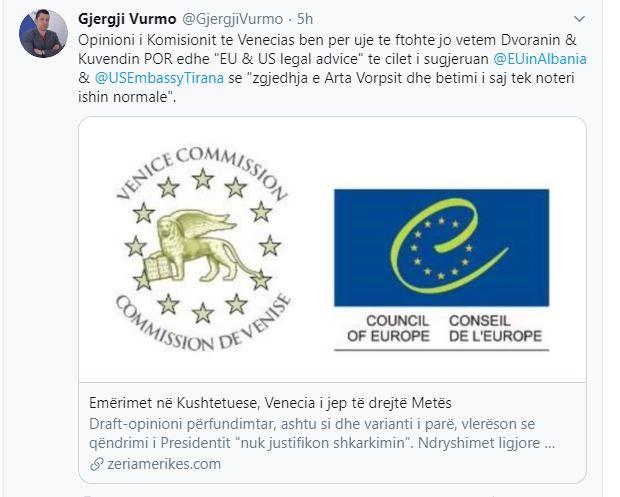 Drejtori i Institutit për Demokraci: Venecia bëri për ujë të ftohtë dhe këshilltarët ligjorë të ambasadës së BE dhe SHBA