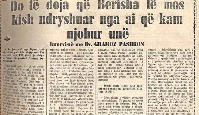 Historia/Gramoz Pashko: Do të doja që Berisha të mos kish ndryshuar nga ai që kam njohur unë